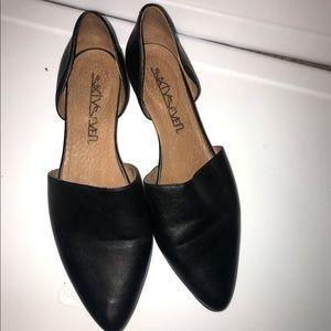 Sixtyseven cutout flats, Black, size 10, leather